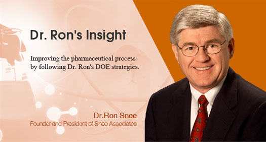 Dr. Ron's Insight: Quality by Design -- Experimental strategies for implementing Quality by Design (