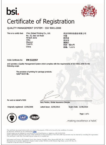QUALITY MANAGEMENT SYSTEM – ISO 9001:2008