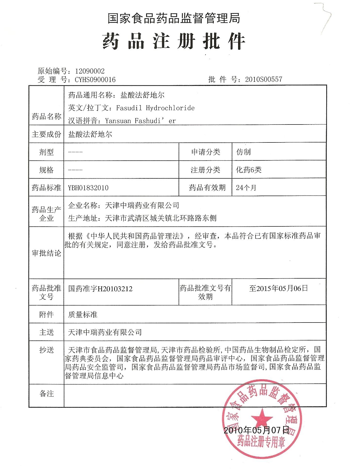 Certificatesstandards Tianjin Zhongrui Pharmaceutical Co Ltd