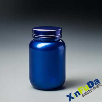 blue plastic soild pills  bottle