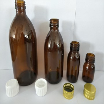 Brown Glass Moulded Bottle with White Screw Lid PP28mm