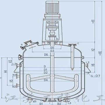 K type enameling glass reaction tank
