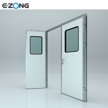 Electronic factory swing Door steel door with window thickness 50 mm